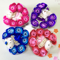 Wholesale Valentine Bouquets - Mother Valentines Day Soap Flowers With Lovely Bear Decorative Rose Soaps Flower Smooth Surface Bouquet For Wedding Gift 4 2mw B