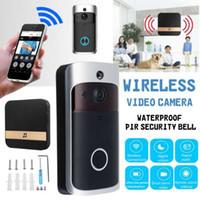 videoporteros para apartamentos al por mayor-WI-FI Video de la puerta del teléfono de la puerta Bell WIFI Timbre de la cámara de visión nocturna para apartamentos IR de alarma de seguridad inalámbrica 1 botón 1 receptor