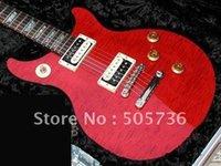 Wholesale Hot Shop Customs - New red color Custom Shop Tak Matsumoto Double Cutaway Flame Top Electric Guirar HOt Sell KK471
