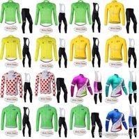 bisiklet çorabı takımları toptan satış-TOUR DE FRANSA Bisiklet Kış Termal Polar jersey (bib) pantolon setleri açık sıkı erkek tarzı bisiklet Spor D1215