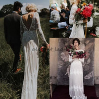 Wholesale bohemia wedding dresses resale online - Charming Bohemia Wedding Dresses with Lace A Line Sexy Backless Boho Long Sleeves Floor Length Country Bridal Gowns Custom