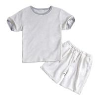 pyjama court achat en gros de-L'été 100% coton blanc mâle court pyjama définit manches courtes mens vêtements de nuit casual homewear pyjamas blanc simple loungewear