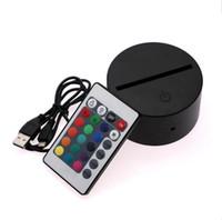 12v panel ışıkları toptan satış-7 Renkler RGB 3D Illusion Lamba için LED Lamba Baz 4mm Akrilik Işık Paneli AA Pil veya DC 5 V USB 3D gece ışıkları