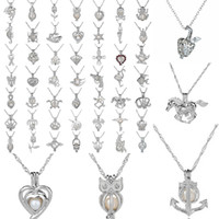 Wholesale fine jewelry silver - fashion Silver Pearl Cage Pendant Locket Necklace With Shark Mermaid Sea Horse Rose Pearls Oyster Pendant Charm Fine Jewelry For Women hot
