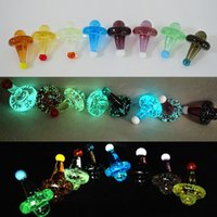 Wholesale glowing hats for sale - Group buy Glow in the Dark Magic Witch Hat Glass Carb Cap Luminous Colored UFO Solid Carb Cap for Thermal P Quartz Banger mm Carb Cap