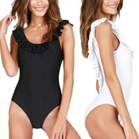 sırtsız monokin yastıkları toptan satış-Siyah Beyaz Tek Parça Mayo Kadınlar Mayo Yastıklı Push Up Mayo Kadınlar Seksi Monokini Fırfır Backless Swim Suit