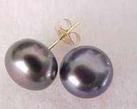 Discount black pearl earring mm - Hot 8-9 mm Tahitian Black Pearl Stud Earrings 14k GOLD+box