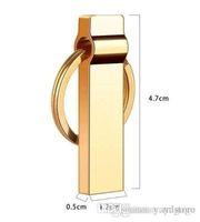 flash-laufwerksketten großhandel-Neue Marke Bravo GOLDEN COLOUR Genuine DZ 3.0 Schlüsselanhänger Design Mini Metall wasserdicht USB Flash Drive Pen Drive E266