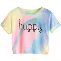 Wholesale women tie dye shirts online - Happy Rainbow Pastel Tie Dye T Shirt  Women Letter 437e649339