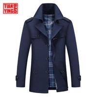 ingrosso uomini britannici di soprabito-Moda Uomo Trench Coat Casual Giacca da uomo lungo tratto invernale Cappotto British Style Slim Fit Giacca a vento Plus Size