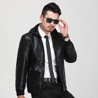 Wholesale 2019 New Hot style autumn Hats sleeve zipper lapel leather jacket men s fashion trend jacket small pu leather coat