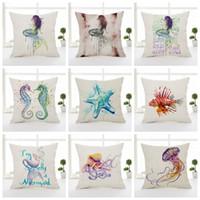 Wholesale Starfish Bedroom - Mermaid Starfish Sea Horse Cushion Covers 9 Styles Marine Animal Octopus Beige Sofa Pillow Covers Thin Linen Cotton Bedroom Decoration