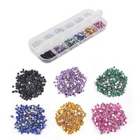 Wholesale uv gel acrylic nails - Mix Color mm Circle Beads Nail Art Tips Rhinestones Glitters Acrylic UV Gel Gems Decoration with Hard Case