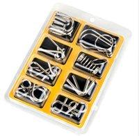 brinquedos da mente venda por atacado-8 Pçs / set Materiais de Metal Montessori Enigma Mente QI Cérebro Teaser Quebra-cabeças para Crianças Adultos Anti-Stress Reliever Brinquedos