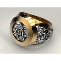 símbolos maçônicos venda por atacado-Anel Maçônico de Aço Inoxidável ejart para Homens Símbolo Maçom G Anéis de Maçonaria Templária