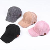 Wholesale Wholesale Corduroy Hats - 2018 Latest High Quality Adjustable Casual Corduroy Couple C Hat Summer New Style Baseball Cap Unisex 4 Color