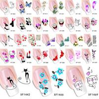 geçici yay dövmeleri toptan satış-Sıcak Opsiyonel Çiçek Yaylar Kedi Vb Su Transferi Sticker Nail Art Çıkartmaları Nails Sarar Geçici Dövmeler Filigran Araçları 1 Levha