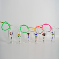 """Wholesale Hose Joints - LED Glass Bongs Mini Dab Rig 5""""inch Water Pipes Matrix Stereo Perc Bong 10mm Joint Portable Bubbler Hookahs with Hose Bowl Thickness"""