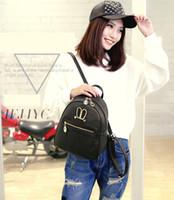 sacs à dos rose clair achat en gros de-Mode Femmes Sac à dos Style PU Cuir souple Fil Fermeture à glissière Uni Design Noir Rose Or Gris couleur