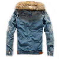 fügen sie mode halsbänder großhandel-Regelmäßige Mode für Männer Winter Hinzugefügt Wärme, um warm zu halten Schweres Haar Kragen Jeansjacke Männer Slim Fit Reine Farbe Lässig Cowboy Mantel