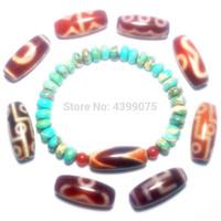 grânulos de ágata vermelha china venda por atacado-China Tibet Ágata Vermelha Dzi Beads 9 Olhos Tigres-dentes Diamantes Multi Padrão de Jóias Pulseiras Corda das Mulheres