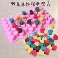 bandejas de bloques de hielo al por mayor-55 bloques amor corazón Molde de chocolate Fabricante de cubos de hielo Bandeja de hielo Molde de pudín de jalea Moldes para hornear Regalo de Navidad Accesorios de cocina