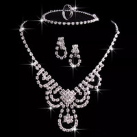 Wholesale Pierced Earring Chain - Cheap Wedding Jewelry Rhinestone Necklace and Earrings Set Earrings and Chain Prom Party Jewellery In Stock Bridal Jewelry Sets
