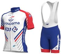 radfahren lätzchen shorts größe großhandel-2018 Groupama Fdj PRO TEAM Kurzarm Radfahren Jersey Fahrrad Wear + BIB Shorts Größe XS-4XL