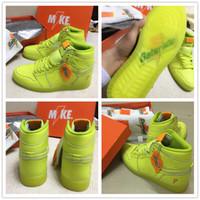 Wholesale Hi Media - Original quality+Box Retro 1 Gatorade HI OG G8RD Sports Basketball Shoes for Airs 1s Fluorescent Green Blue Purple Fashion Sneakers 40.5-47