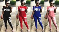 Wholesale Summer Sport Tracksuit - PINK Letter Women Sports Suits Pants T-Shirts Short Sleeve Print Tees Tops Shirts Trousers Leggings Summer Spring Tracksuits Sportswear 9fv