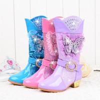 ingrosso stivali rosa principessa-Scarponi da neve con tacco alto da bambina principessa con farfalle in peluche, al ginocchio, paillettes glitter, strass, scarpe da festa in pizzo rosa