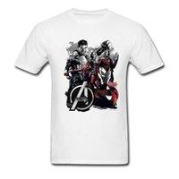 camiseta del héroe al por mayor-Classic Avengers Heroes Print Causal Hombres Tops Camiseta Nueva marca de moda para hombre Camiseta para el estudiante Camiseta Infinity War Super Superman