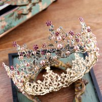 Wholesale gold encrusted - 2018 High Quality Baroque Tiaras Floral Charms Handmade Multi Rhinestone Encrusted Pearls Wedding Headpieces Crown Bridal Accessories