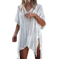 Wholesale new beach clothing ladies for sale - European And AmericanStyle Hollowed Beach Cover Knitted Sweater Lady New Style V Collar New Type Sunscreen Clothing