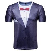 мужская футболка dhl оптовых-Лето новый мужской 3D печать поддельные два костюма футболка круглый воротник с коротким рукавом большой размер футболки M-2XL15pcs / lot DHL HSY32
