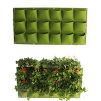 dikey çiçek poşetleri toptan satış-Çiçek Bitki Saksıları Çanta 18 Cepler Duvara Asılı Asılı Dikey Bahçe Tesisi Dekor Keçe Yeşil Alan Büyümek Konteyner Çanta açık