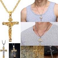 placas de fé venda por atacado-U7 crucifixo cruz pingente de colar de ouro / preto arma banhado / aço inoxidável moda religiosa jóias para mulheres / homens fé colar