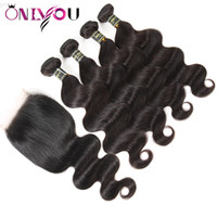 Wholesale cambodian hair lace closure for sale - Group buy 9a Peruvian Virgin Human Hair Body Wave Weaves Bundles with x4 Lace Closure Silk Brazilian Body Wave Remy Human Hair Weaves