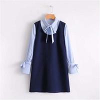 mini vestidos japoneses al por mayor-Primavera nueva moda azul patchwork oficina OL vestido de damas japonés vendaje coreano mujeres manga larga rayas Kawaii mini vestidos