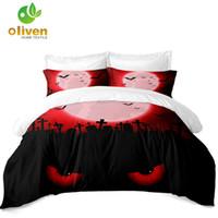 lits de chat rouge achat en gros de-Scarlet Night Tomb Bedding Set Red Eyes Cat Print Housse de couette De Luxe Halloween Literie Taie D'oreiller Housse de Couette 3 Pcs D25