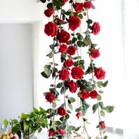 efeu hochzeit dekorationen großhandel-Rose Simulation Blumen DIY Ivy Vine Green Leaf Home Hochzeit Dekorationen Hängen Weihnachtsgirlanden Gefälschte Ornamente Kleider Home Party