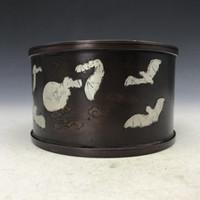 pintura china antigua al por mayor-Colección china antigua caja de murciélagos de cobre manual puro pintura nubes