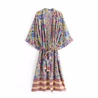 ingrosso lunga stampa in cardigan chiffon-Moda Euro Style Abbigliamento donna Chiffon lungo Orientamento moda pavone stampa cravatta donna mantello
