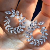 Wholesale sterling leaf - New Design Sparkly Olive Branch Leaf Shape Marquise Cut Big Cubic Zirconia Stud Earrings For Women Fine 925 silver Jewelry