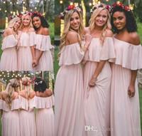 mini pembe plaj elbisesi toptan satış-Ülke MUMU Gelinlik Modelleri 2018 Mütevazı Pembe Şifon Plaj Genç Onur Hizmetçi Elbise Bohemian Örgün Düğün Konuk Törenlerinde