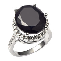 Wholesale sterling silver rings prices factories for sale - Group buy black onyx Huge Black onyx With Multi White Crystal Zircon Sterling Silver Factory price Ring For Women Size