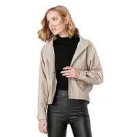 bayanlar yumuşak deri ceketler toptan satış-2018 Yeni Kadın Autunm Kış Faux Deri Ceketler Lady Bombacı Motosiklet PU Deri Ceket Yumuşak Ceket Ince Yaka Motosiklet