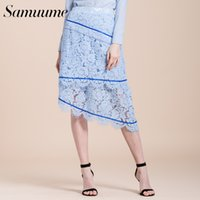 cbc3d7563 Samuume Elegant Women High Waist Lace Skirts 2018 New Ribbon Lace Patchwork  Irregular Bottom A-line Skirt Faldas Mujer S1710014