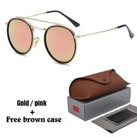 Wholesale Green Bridges - Hot Classic sunglasses for women metal frame double Bridge sun glasses Steampunk Goggle 11 Colors With free brown cases and box