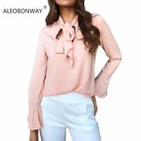 блузы большие луки оптовых-ALEOBONWAY Fashion New Women Blouse Chiffon Elegant Women Shirt Long Flare Sleeve Big Bow Tie Office Lady Wear Female Tops CL051